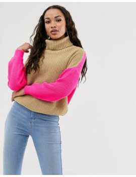 Missguided Roll Neck Jumper In Camel With Pink Colour Block by Missguided
