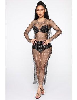 Dazzle Me Up Pearl Maxi Dress   Black by Fashion Nova