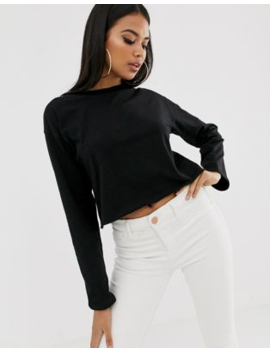 Asos Design Boxy Crop T Shirt With Overlock In Black by Asos Design