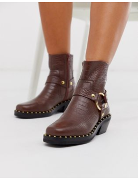Asos Design Axel Premium Leather Studded Western Boots In Brown Croc by Asos Design