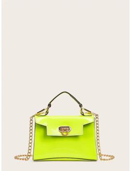 Neon Green Metal Lock Satchel Bag by Romwe