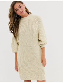Asos Design Knitted Rib Mini Dress With Chunky Crew Neck by Asos Design