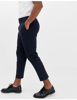 Noak Drop Crotch Tapered Cropped Smart Pants In Navy by Noak