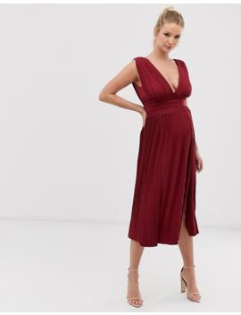 Asos Design Maternity Premium Lace Insert Pleated Midi Dress by Asos Design