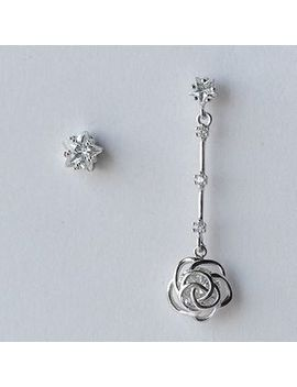 A'roch   925 Sterling Silver Rhinestone Rose Non Matching Earrings by A'roch