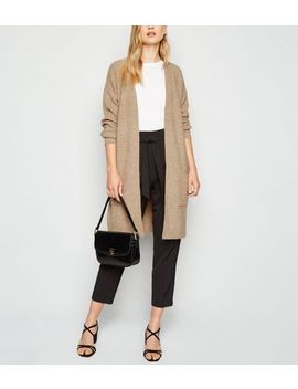 Camel Ribbed Longline Cardigan by New Look