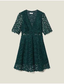 Short Dress Sweetheart Guipure Neckline by Sandro Eshop