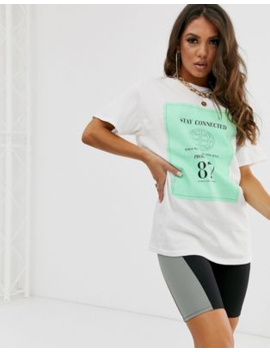 Pretty Little Thing T Shirt With Stay Connected Motif In White by Pretty Little Thing