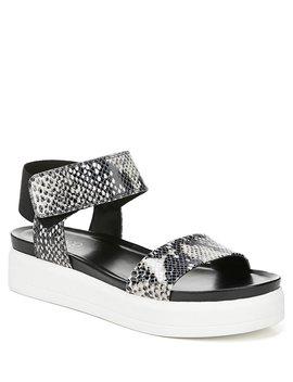 Kana Python Snake Print Leather Platform Wedge Sandals by Franco Sarto