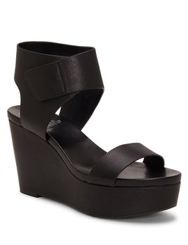 Velista Leather Platform Wedge Sandals by Vince Camuto