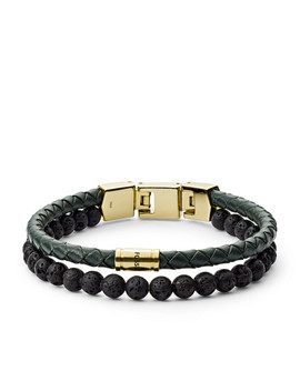 Duo Green Leather And Lava Stone Bracelet by Fossil