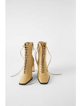 Laced Leather High Heel Ankle Boots View All Denim Woman Cornershops by Zara