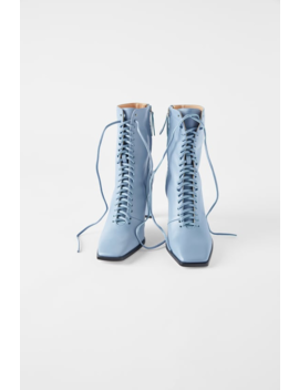 Laced Leather High Heel Ankle Bootstimeless Woman Cornershops by Zara