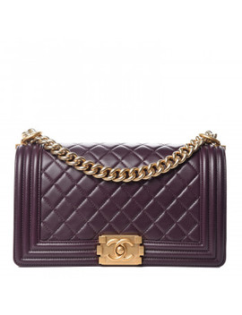 Chanel Lambskin Quilted Medium Boy Flap Dark Purple by Chanel