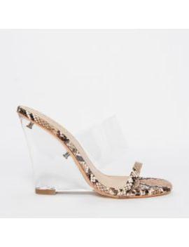 Sierra Beige Snake Clear Wedge Heels by Simmigirl