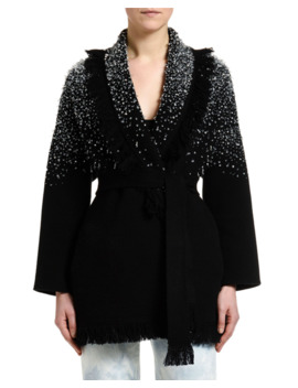 Hoarfrost Hand Embroidered Crystal Cardigan by Alanui