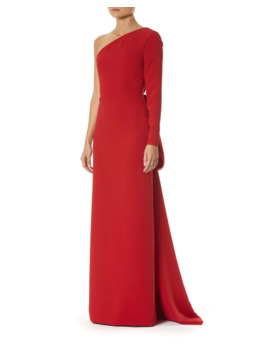 One Shoulder Draped Back Silk Gown by Carolina Herrera