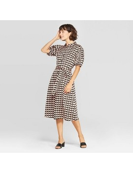 Women's Puff Short Sleeve Collared Front Button Down Midi Wrap Dress   Who What Wear by Down Midi Wrap Dress
