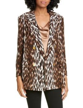Taryn Leopard Print Silk Blazer by L'agence