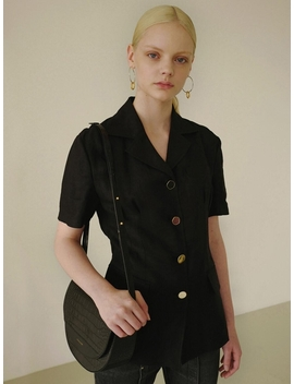 Mia Short Sleeved Linen Jacket Awa246w Black by Andersson Bell