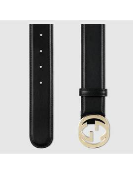 Leather Belt With InterlockingG by Gucci