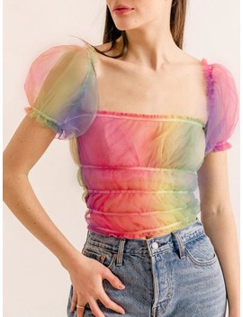 Polychrome Square Neck Puff Sleeve Sheer Mesh Crop Top by Choies