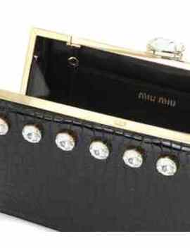 Miu Solitaire Leather Clutch by Miu Miu