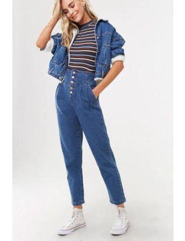 Pleated Button Fly Mom Jeans by Forever 21
