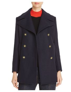 Double Breasted Wool Blend Peacoat by Tory Burch