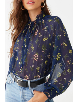 Sheer Chiffon Floral Bow Top by Forever 21