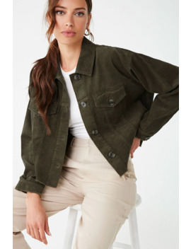 Frayed Corduroy Button Front Jacket by Forever 21