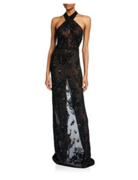 Beaded Sheer Crossover Gown by Naeem Khan