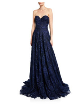 Strapless Sweetheart Neck Gown by Naeem Khan