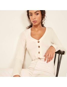 Reformation Cream Ribbed Button Front Iris Top by Reformation