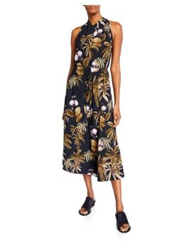 Mixed Tropical Garden Halter Dress by Vince