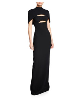 Cape Sleeve Bustier Cutout Gown by Brandon Maxwell