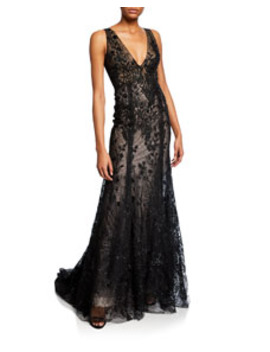 Embroidered Tulle V Neck Mermaid Gown by Monique Lhuillier