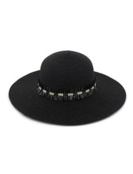 Flower Fringe Straw Sun Hat   Black by Zaful