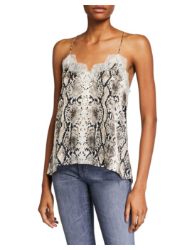 The Racer Snake Print Charmeuse Camisole With Lace by Cami Nyc