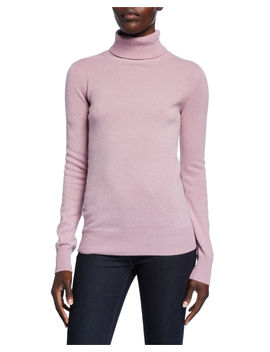 Basic Long Sleeve Turtleneck Cashmere Sweater by Neiman Marcus Cashmere Collection