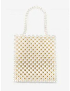 Vintage Pearls Knitted Square Tote   Warm White by Zaful