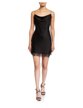 Harmony Cowl Neck Lace Hem Mini Slip Dress by Alice + Olivia