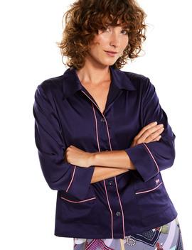 Navy Satin Long Sleeve Shirt by Peter Alexander