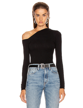 Angled Exposed Shoulder Long Sleeve Top by Enza Costa