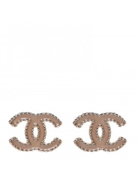 Chanel Enamel Cc Earrings Beige Gold by Chanel