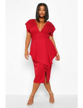 Plus P Lunge Ruffle Detail Midi Dress by Boohoo