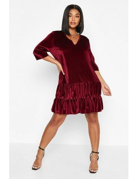 Plus Velvet Tiered Smock Dress by Boohoo