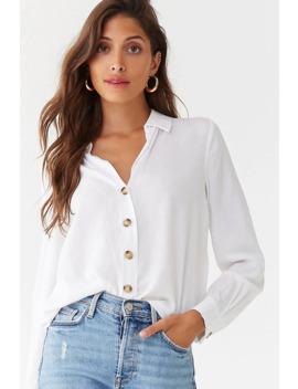 Semi Sheer Linen Blend Shirt by Forever 21