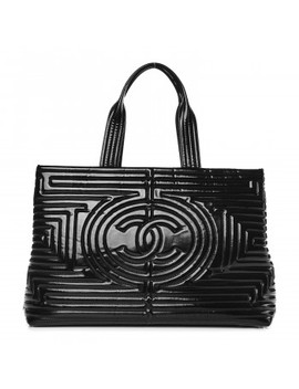 Chanel Vinyl Coco Ming Grand Shopping Tote Black by Chanel