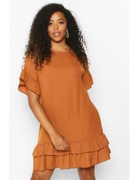 Plus Linen Look Woven Ruffle Smock Dress by Boohoo